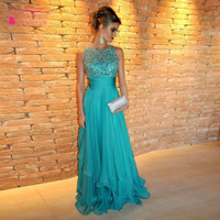 sleeveless O- Neck Prom Dress Turquoise Long Party  Arabic Evening Dress Long Formal homecoming  Dresses   Z317