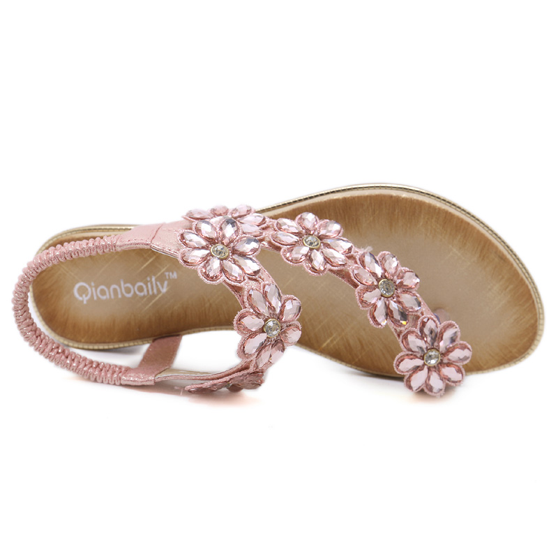 One Bling Bohemian Sandals Women Wedding Bridal Bridesmaid Shoes Flip Flop  Ring Toe Floral Rhinestone Crystal Shoes Flats-in Low Heels from Shoes on  ... d3ec2df3ea4a