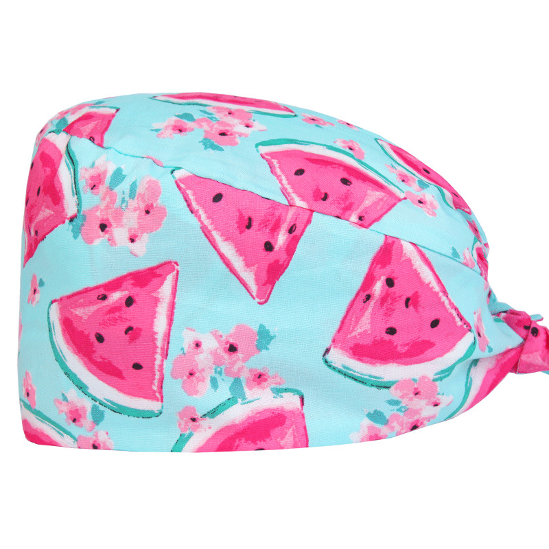 Women's Adjustable Scrub Cap Sweatband Medical Hats Watermelon Print Hospital Nursing Doctor Caps One Size 100% Cotton