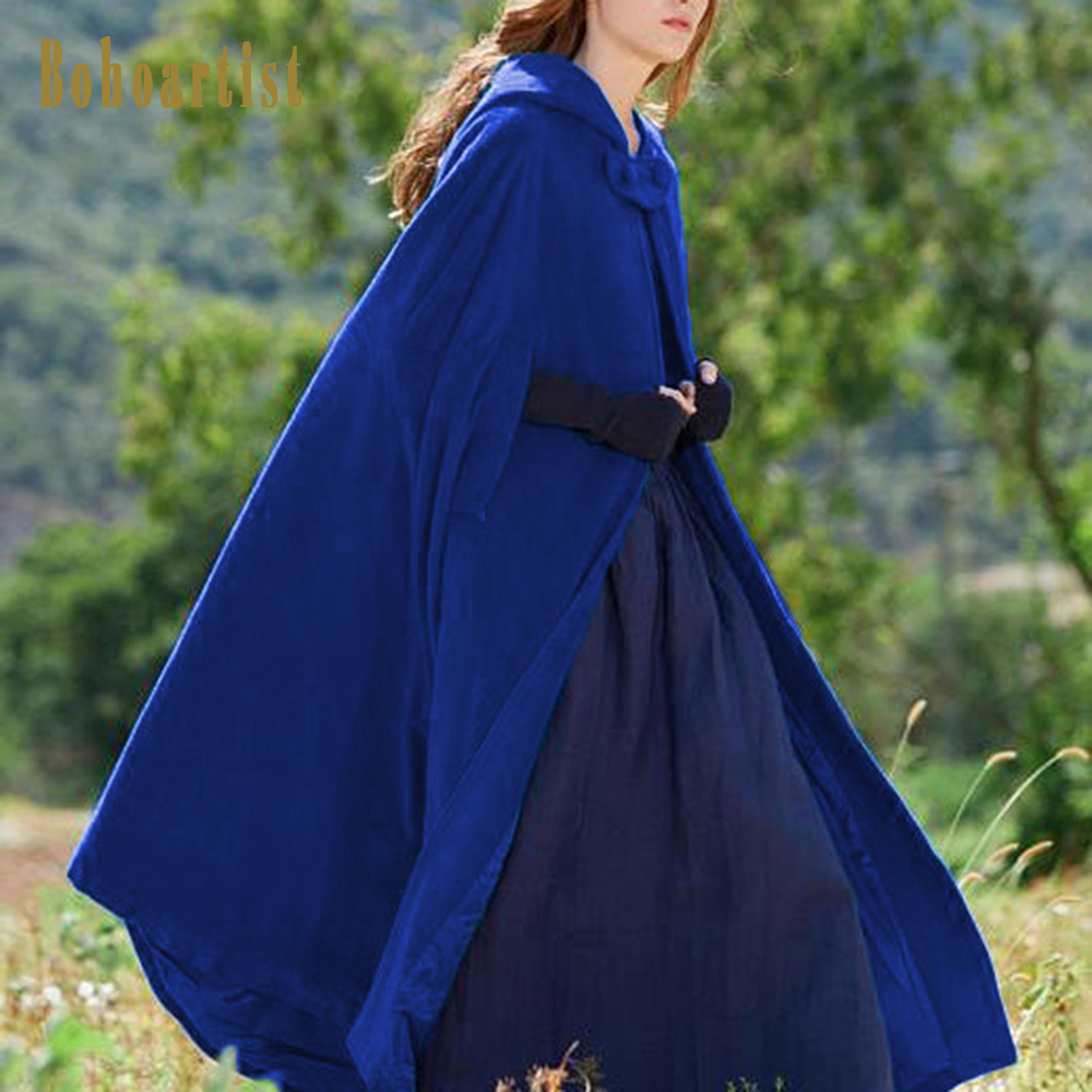 Bohoartist Boho Hooded Long Women Poncho Cape Winter Casual Vintage Overcoat Blue Chic Girl Fashion Button Female Cloak 2019