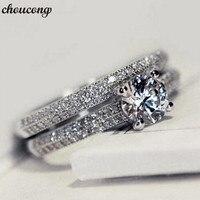 Choucong Для женщин обручальное кольцо набор стерлингового серебра 925 AAAAA камень циркон кольца Женская Праздничная обувь украшения подарок 3 цв