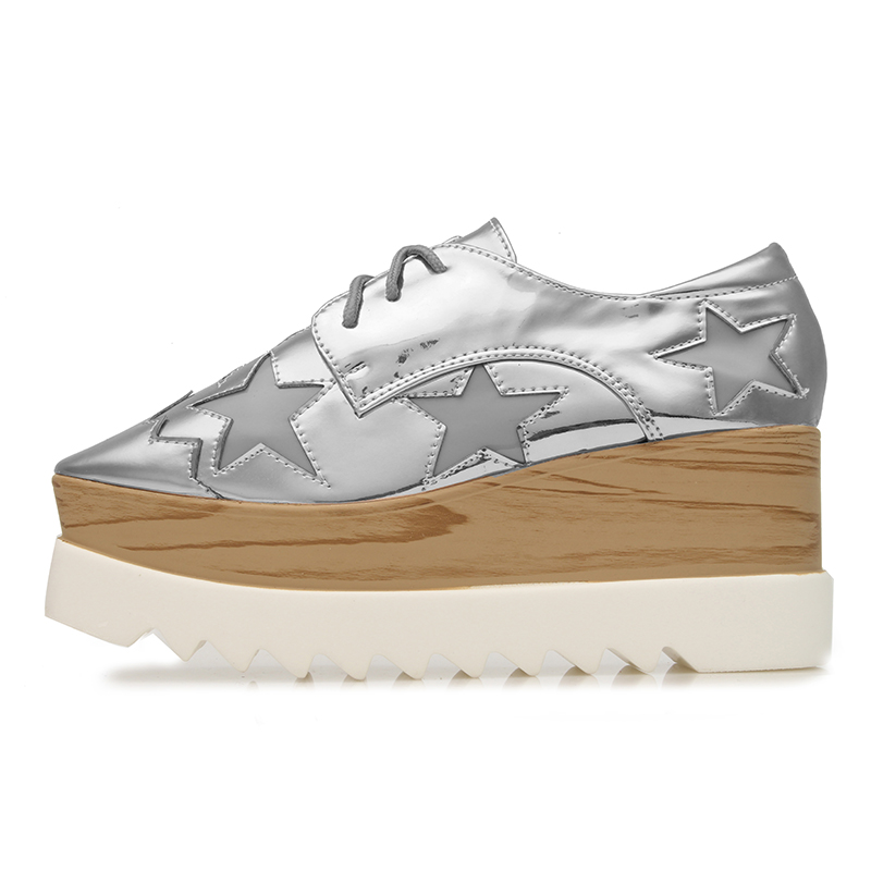 Yjp Women Patent Leather Platform Flat Shoes Rose Goldblackgold