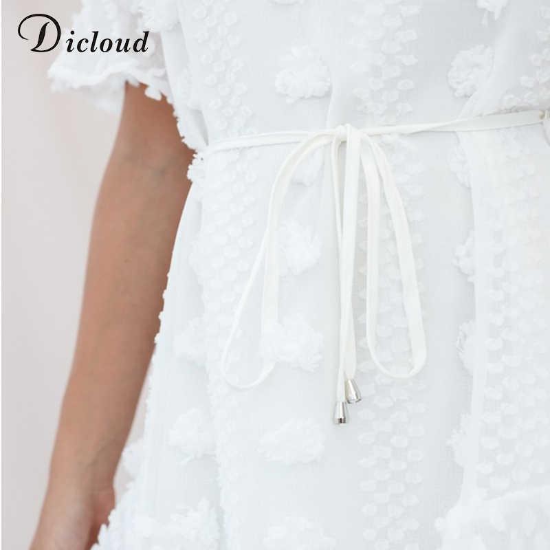 DICLOUD повседневное белое платье Летнее женское с круглым вырезом короткий рукав-клеш вечерние пляжные оборки сарафан открытая спина элегантная уличная одежда