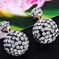 Wholesale! Korea hot new 2016 double sided pearl earrings for women trendy Rhinestone Crystal stud earrings E1360 - E1367