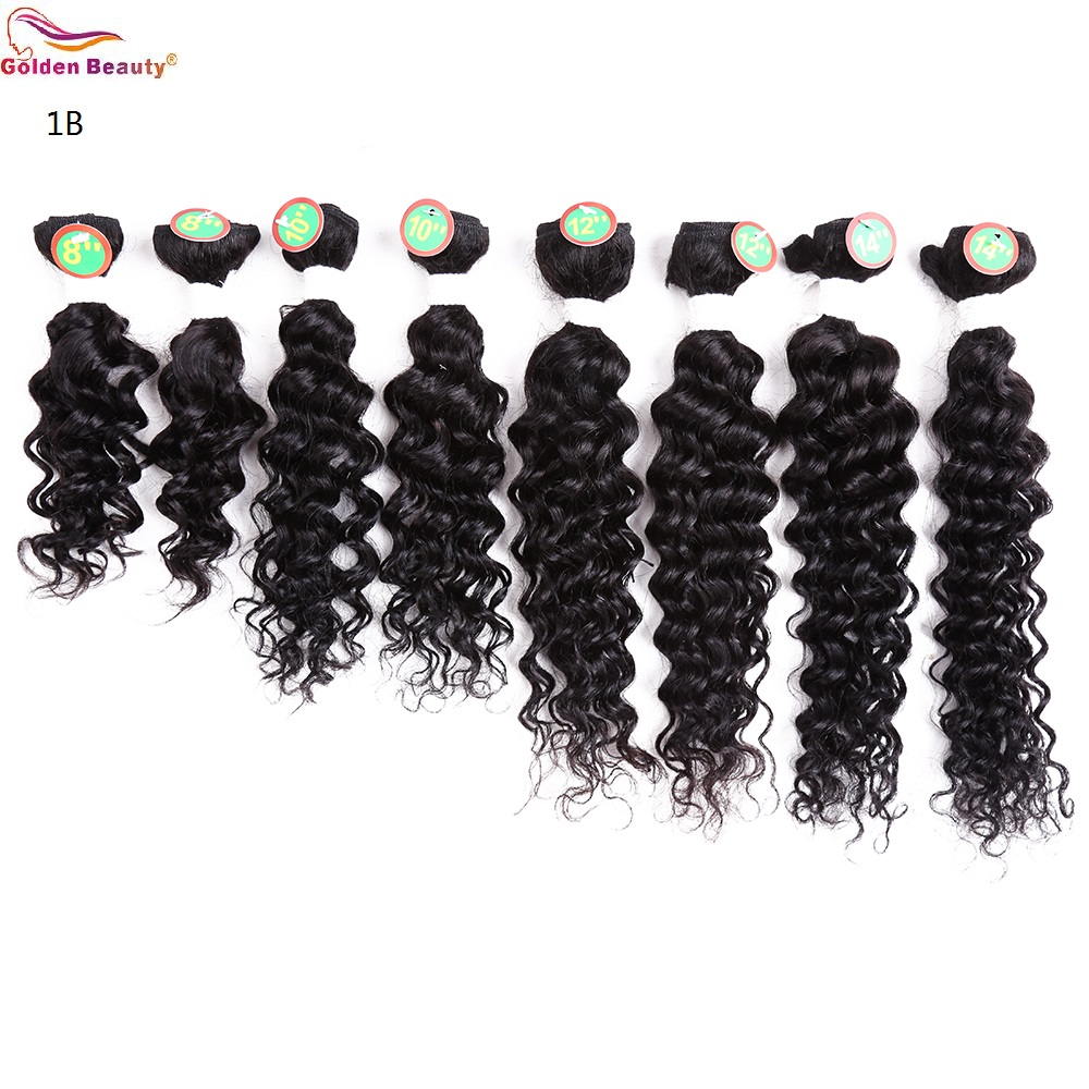 8-14inch Deep Wave Bundles Weave Hår Syntetisk Kort Sy i - Syntetiskt hår - Foto 4