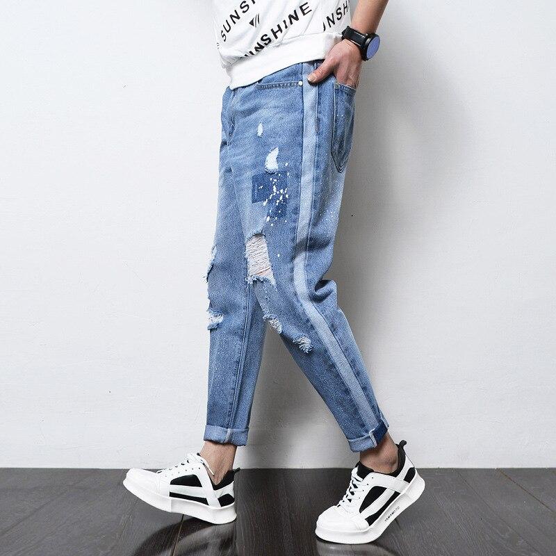 LEDINGSEN 2018 Spring Ripped Blue Jeans Men Loose Distressed Hole Baggy Denim Pants Cotton Casual Jean Harem Pants Plus Size 42