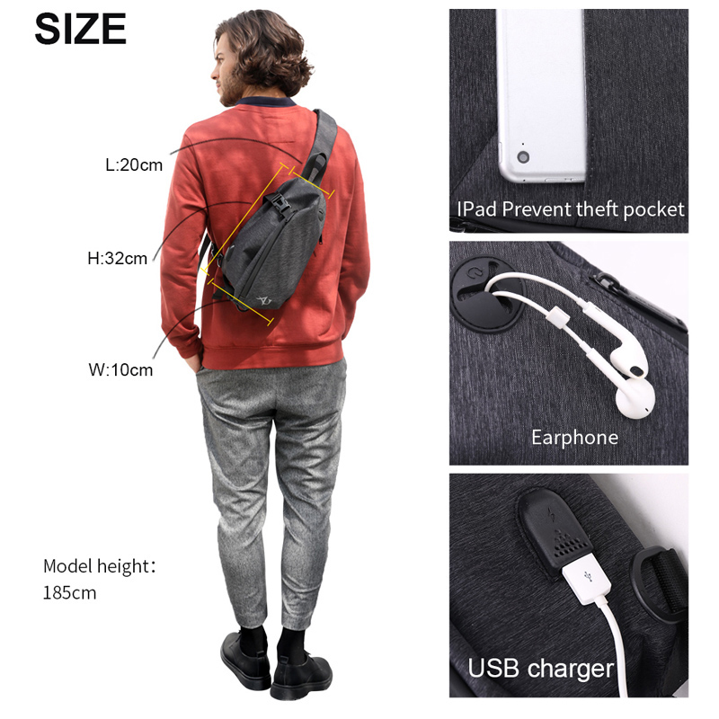 e832509909ef ARCTIC HUNTER Brand Chest Bag Crossbody Bags for Men Messenger USB Charge  Waterproof Nylon Casual Shoulder Bag Christmas Gift on Aliexpress.com
