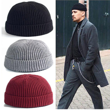 Hats/Caps Autumn Winter Ribbed Knitted Beanie Solid Color Skullcap Baggy Short Melon Cap Retro Ski Docker Beanie Hat Slouchy flocking letter patch knitted slouchy beanie