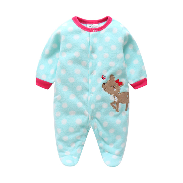 Unisex Baby Rompers Cartoon Animal Clothing Set Winter Girls Warm Fleece Clothes Boys Foot Overalls Newborn Infant Jumpsuit