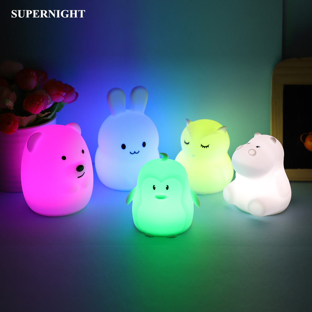 Cartoon Mini Bear Rabbit Hippo LED Night Light 9 Colors Silicone Bunny Animal Lamp Bedroom Bedside Lamp For Children Kids Baby