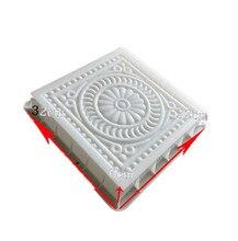 Ancient building floor tile plastic mold cement brick paver molds concrete flower carving path paving mould