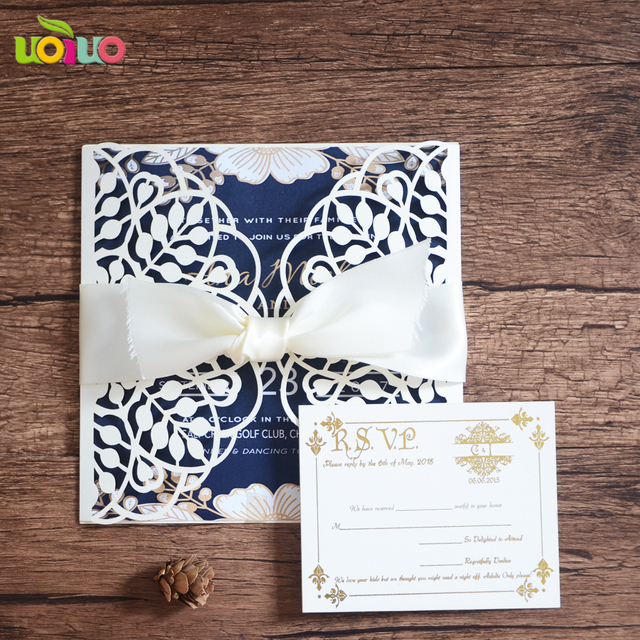 Round leaves elgant Wholesale 50 Laser Cut Wedding invitations Cards