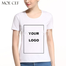 MOE CERF Customized T shirt Women Female Print Your Own Design High Quality Send Out In 3 Days White Color