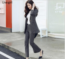 2017 Autumn New Pant Suits Women Casual Office Business Suits Formal Work Wear Sets Uniform Styles Striped Elegant Pant Suits