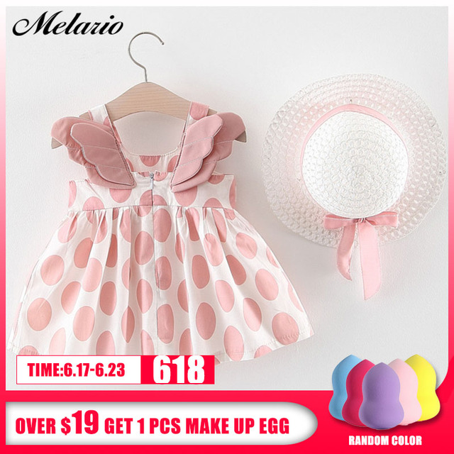 Melario Baby Girls Dresses With Hat 2pcs Clothes Sets Kids Clothes Baby Sleeveless Birthday Party Princess Dress Print Floral