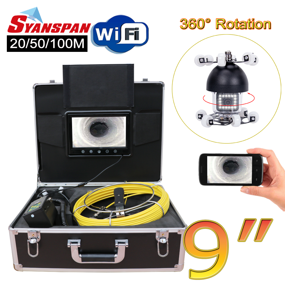 SYANSPAN 9 WiFi Pipe Inspection Video Camera,Drain Sewer Pipeline Industrial Endoscope support Android/IOS 360 Rotation 20-100M dhlfree wp71 50m sewer drain pipe inspection camera system 7 lcd video snake pipeline endoscope borescope underwater mini camera