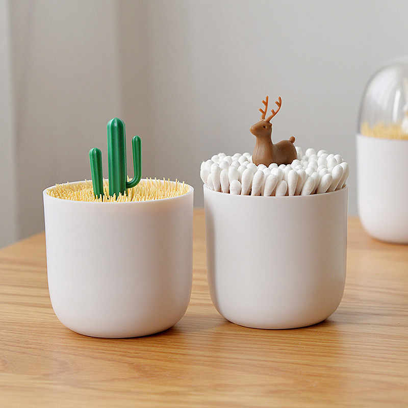 Creative Portable Toothpick Box Toothpick Holder Home Living Room Cotton Swab Boxes Mini Bucket Cute Personalized Storage Tank