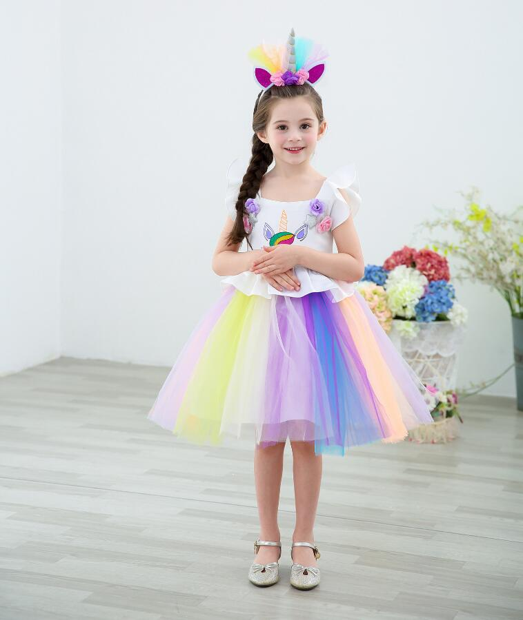 2018 Fancy Kids Unicorn Dress for Girls Embroidery Ball Gown Baby Flower Girl Princess Dresses Cosplay Party Costumes Unicornio
