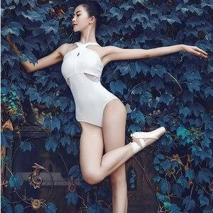 Image 1 - ballet women leotard gymnastic leotards white halter dance leotard adult yoga sports bodysuit ladies dancewear swimsuit women