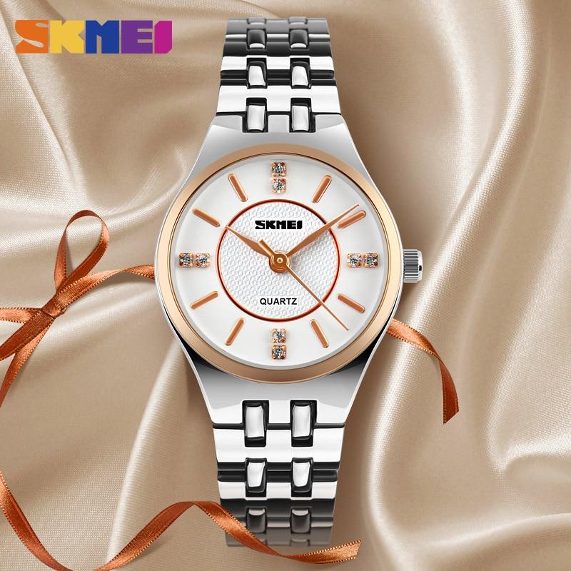 SKMEI NEW Ladies Watch Quartz Wristwatch Luxury Top Brand Stainless Stell Strap Women Watches Waterproof 1133 Reloj Mujer