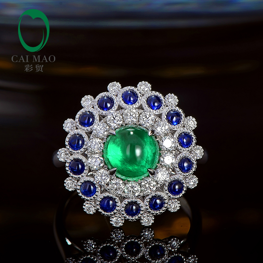 Caimao Cabochon Cut 1.85ct Natural Emerald 18k White Gold Halo Diamond Sapphire Engagement Ring for Women caimao exquisite jewelry natural cabochon cut emerald baguette cut diamond 14kt white gold drop earrings