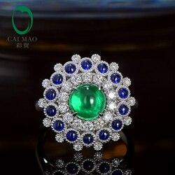 Caimao Cabochon Kesim 1.85ct Doğal Zümrüt 18 k Beyaz Altın Halo Pırlanta Safir Nişan Yüzüğü Kadınlar için