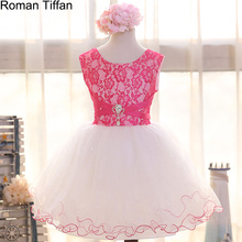 2017 New Arrival Flower Girl Dresses Ruffles Ball Gown Knee Length Little Girl Dresses Red Lace Decorated Wedding Party Gown