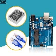 UNO R3 הרשמי תיבת ATMEGA16U2 + MEGA328P שבב עבור Arduino UNO R3 פיתוח לוח