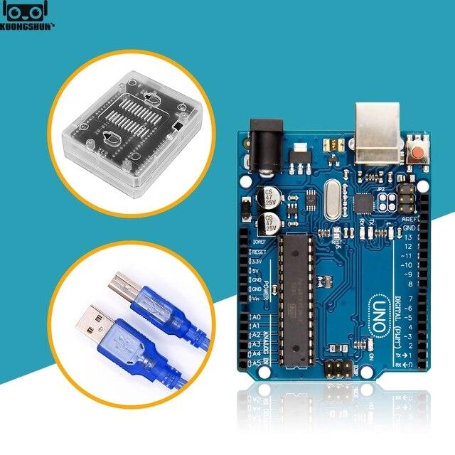 UNO R3 resmi kutusu ATMEGA16U2 + MEGA328P çip Arduino UNO için R3 geliştirme kurulu