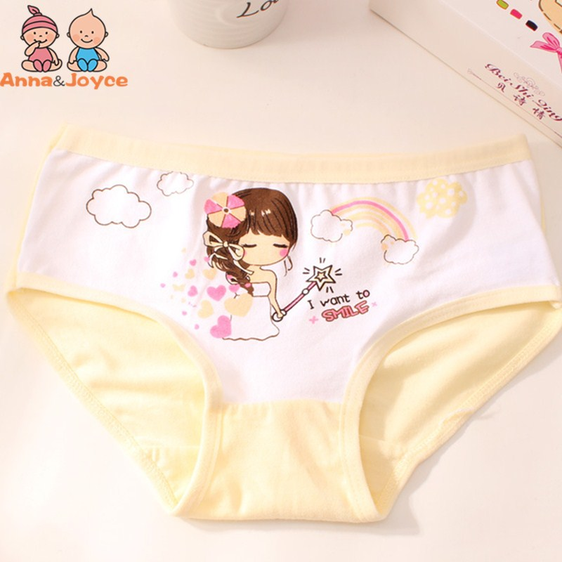 4PC/lot Girls Soft Pure Cotton Triangle Underwear Pricness Cartoon Underwear Kids Triangle Underwear for 3 To 12 Years 5