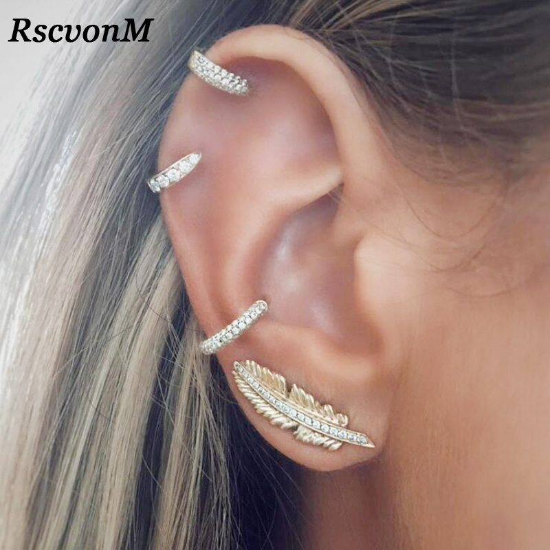 RscvonM Vintage Leaf Clip On Earrings Gold Colour Crystal Ear Cuff Pendientes De Clip Women Earrings Ear Wrap Earcuff Brincos золотые серьги по уху
