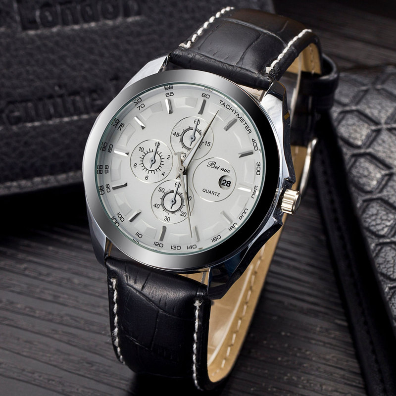 from in strap arrival on men fashion item dress military brand leather relogio quartz luxury masculino new watches