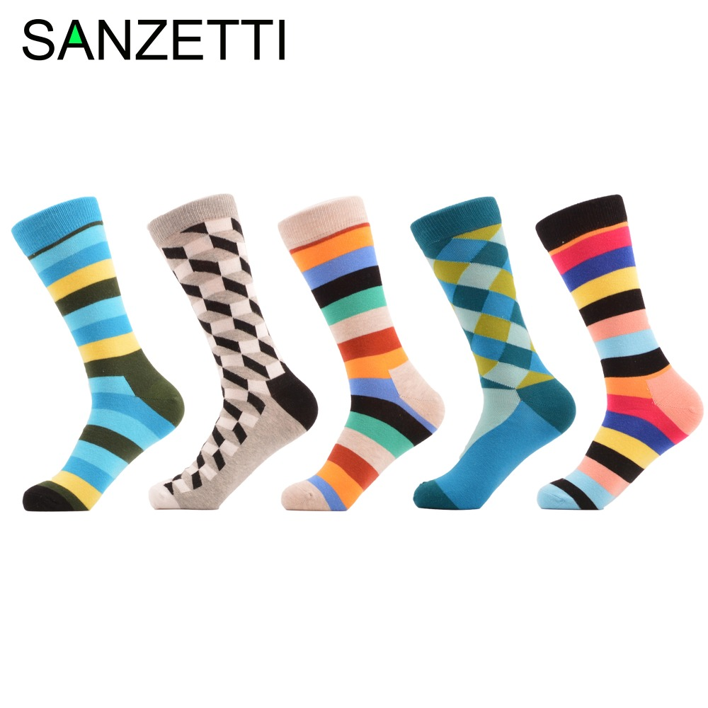 SANZETTI 5 pair/lot Bright Striped Grey Filled Optic Style Combed Cotton Socks Colorful Dress Crew Men Socks