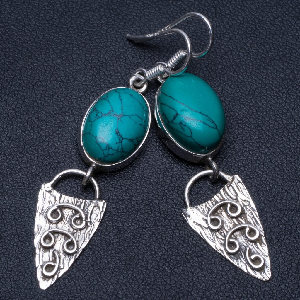 Natural Turquoise Unique Punk Style 925 Sterling Silver Earrings 2 P2397Natural Turquoise Unique Punk Style 925 Sterling Silver Earrings 2 P2397
