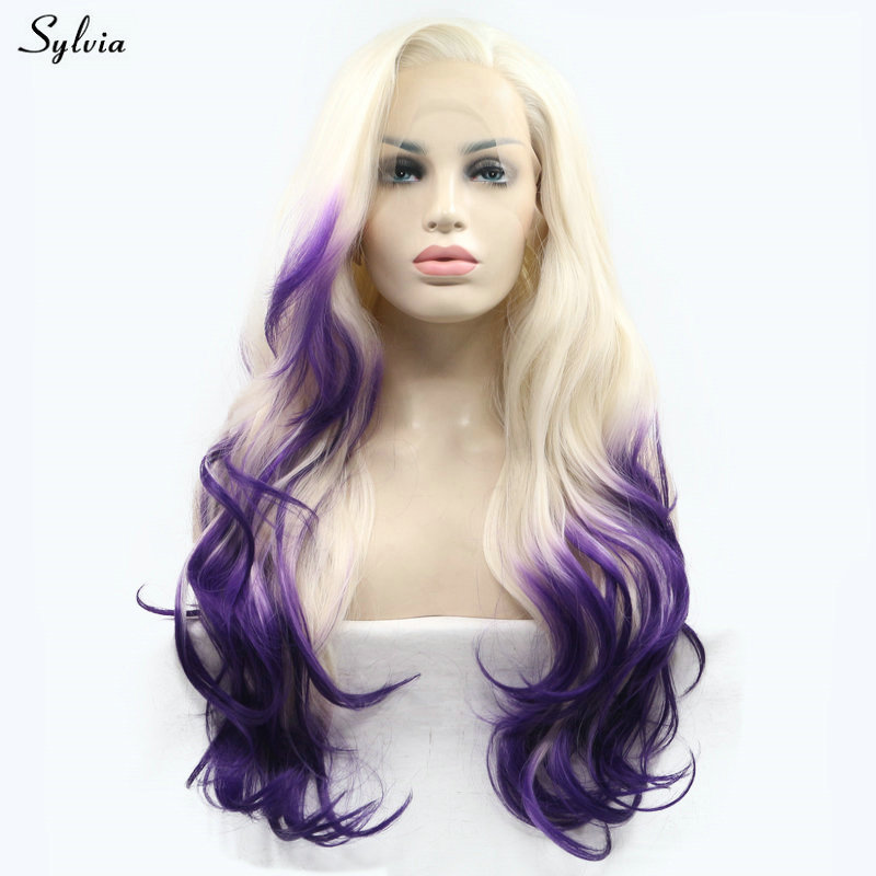 Sylvia High Temperature Natural Long Hair 60# Pastel Blonde Ombre Dark Purple Two Tone Synthetic Lace Front Wigs for White Women