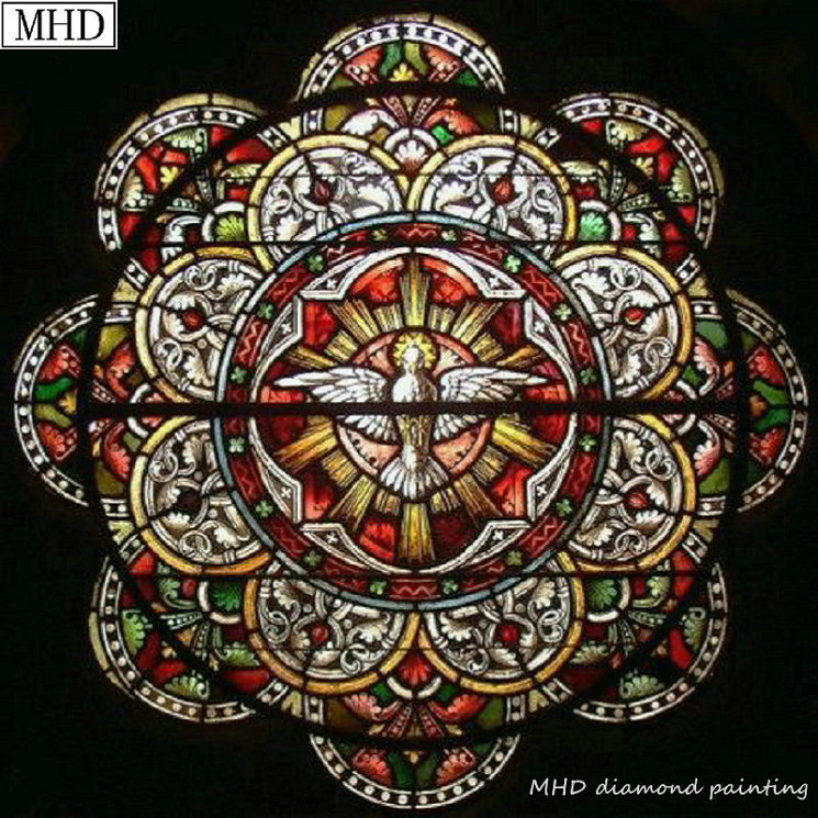 Stained Glass Window Art.Us 5 44 47 Off Full Round Square 5d Diy Diamond Painting Stained Glass Window Mosaic Home Decoration Handmade Sewing Embroidery Art Kit In Diamond