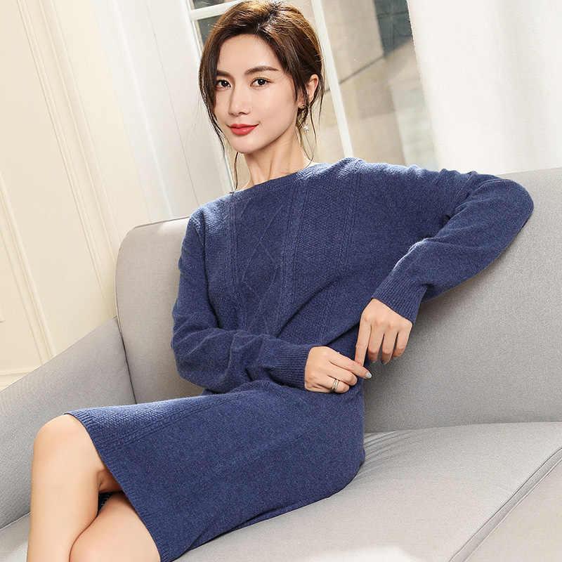 29e3d1fc0a19f Hot Sale Winter Women Dresses 100% Pure Cashmere Knitting Jumpers New  Arrilva 4Colors Long Sweater