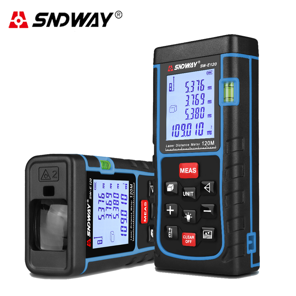 SNDWAY 120M Laser distance meter Digital Rangefinder Tape measure Distance/Area/volume trena Laser tape range finder ruler sndway sw e40 rree shipping rz40 131ft laser rangefinder 40m distance meter digital laser range finder tape area volume angle