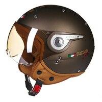 BEON Vintage Motorcycle Helmet Men Wonmen Cafe Racer Scooter 3/4 Open Face Helmet Crash Retro Biker Motorbike Moto Helmet Visor
