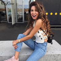 Hugcitar V Neck Patchwork White Solid Lace Up Sexy Tank Top 2018 Women Fashion Crop Tops
