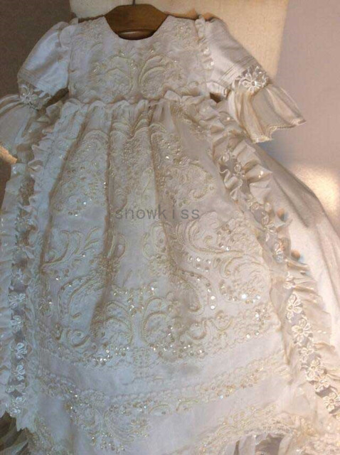 bbb9a84ec New Bling Beaded Full sleeves White lace infant baptism baby girl ...