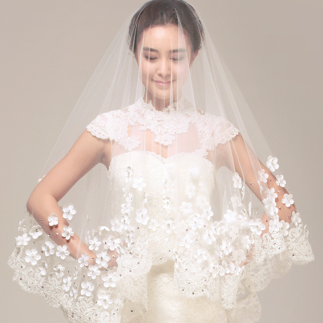 White&Ivory Bridal Wedding Veils Formal 1T 3M Lace Appliques With Comb Custom