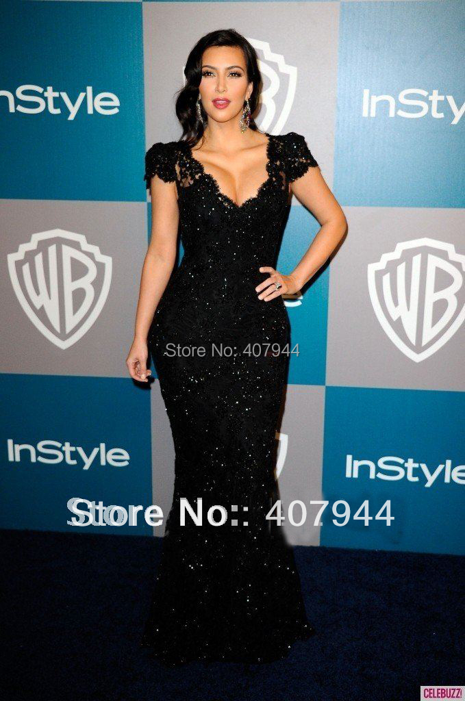 Aliexpress.com : Buy Kim Kardashian Black Celebrity Dresses Black ...