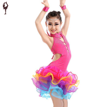 2016 Latin Dress For Girls 4pcs(Dress&Necklace&Earring&Bracelet)  Kids Ballroom Dress Childrens Dance Wear Salsa Dancing Dress