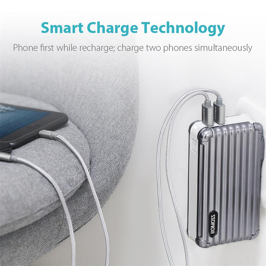 10000mAh 2-in-1 Power Bank and Wall Charger ROMOSS UP10 Dual Port USB Portable Charger 14