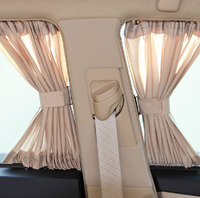 Aluminum Shrinkable Windowshade Curtain For Auto Car Front Rear Windows Beige (Pack of 2)