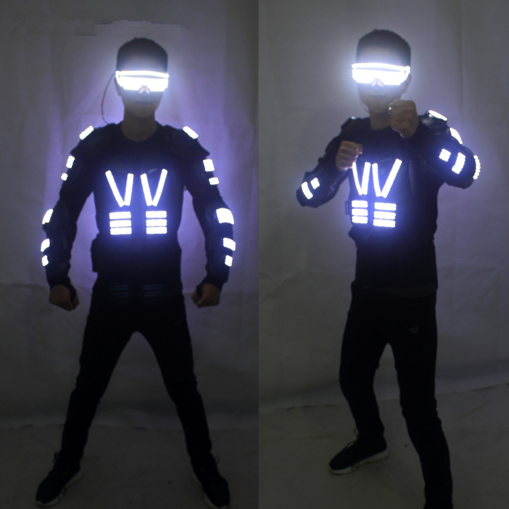 New Arrival Fashion LED Armor Light Up Jackets Costume Glove Glasses Led Outfit Clothes Led Suit For LED Robot suits
