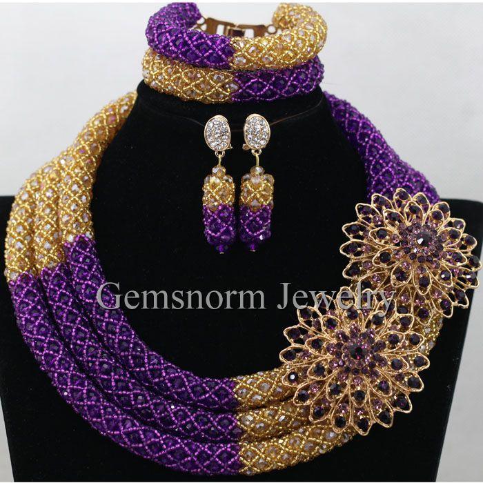 Splendid Purple Gold Nigerian Bridal Beads Fashion Jewelry Set ...