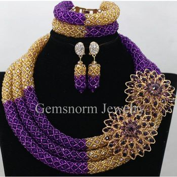 Splendid Purple Gold Nigerian Bridal Beads Fashion Jewelry Set Costume African Indian Jewelry Set for Women Free Shipping WA434