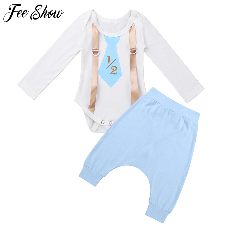 Infantil Baby Boys Clothing 1/2 Half Birthday Party Outfits Long Sleeves Tie Printed Decorative Suspenders Romper with Pants Set